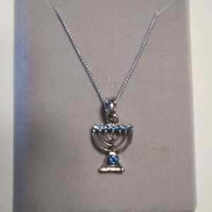 Beautiful Menorah Silver Necklace with Blue Stones